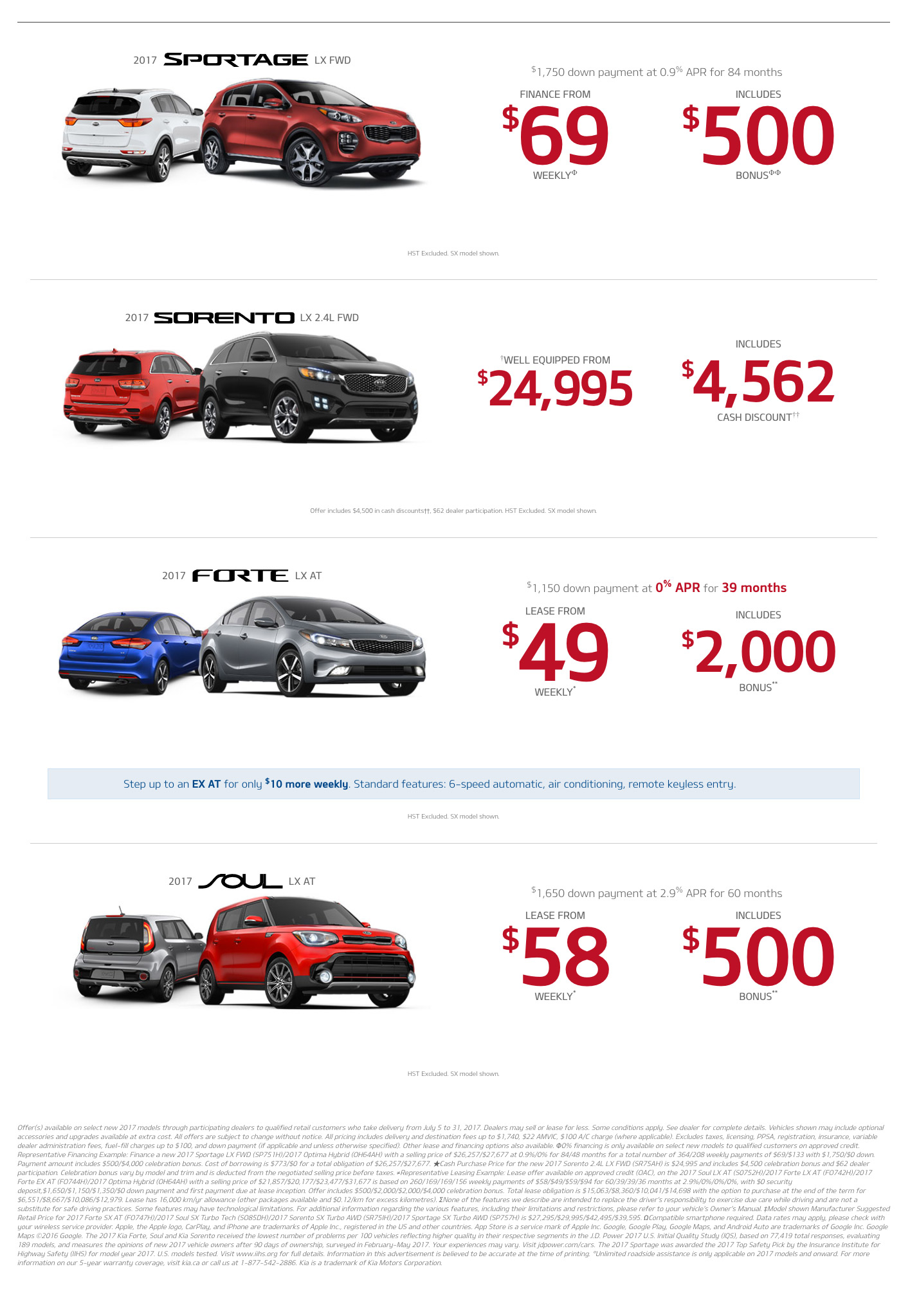 July Kia vehicle offers