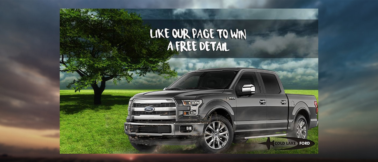 Image of a Truck Like the Cold Lake Ford Facebook page to win a free detail.