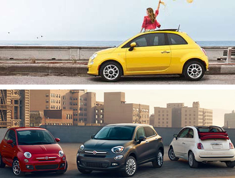 Group of Friends travelling in a 2015 Fiat 500