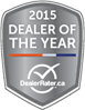 2015 Dealer of the Year Award from Dealer Rater