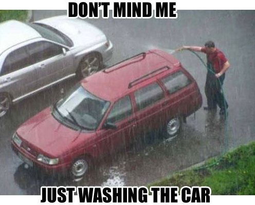 car washing rain meme
