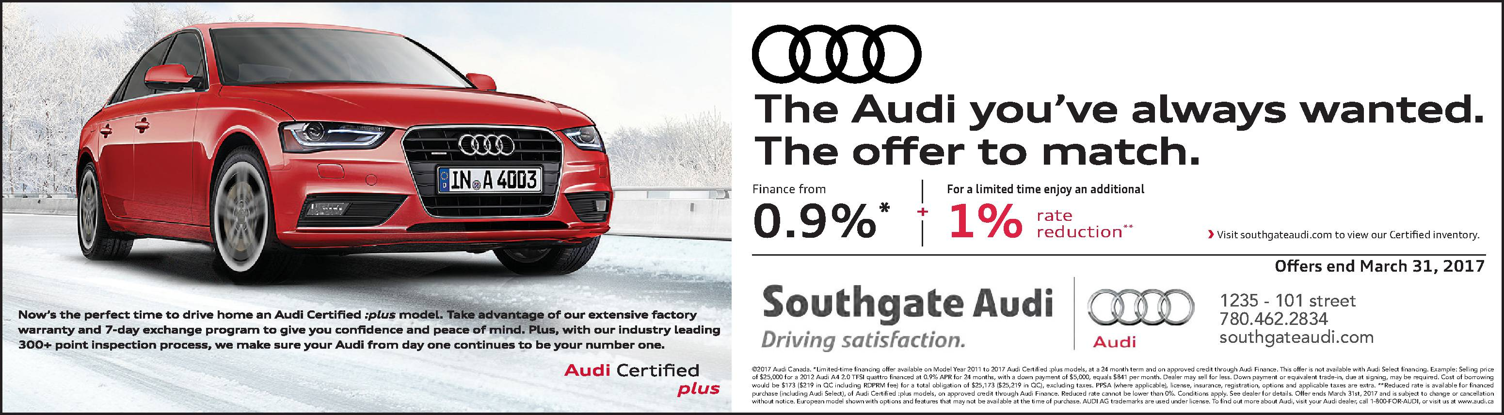 Audi Incentives March 2017
