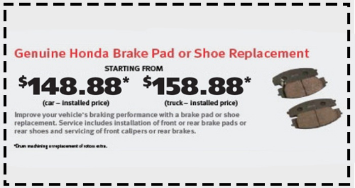 Brake Pad Special at Wheaton Honda