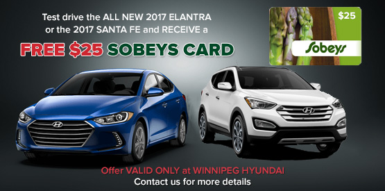 Free $25 SOBEYS Gift Card for Test Driving a 2017 Elantra or Santa Fe