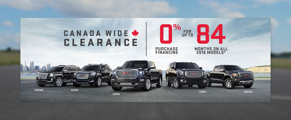GMC Canada Wide Clearance - July Incentive